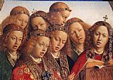 Jan Van Eyck Famous Paintings - The Ghent Altarpiece Singing Angels [detail]